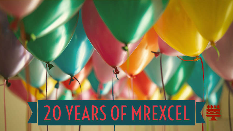 Thankful for 20 Years of MrExcel on November 21
