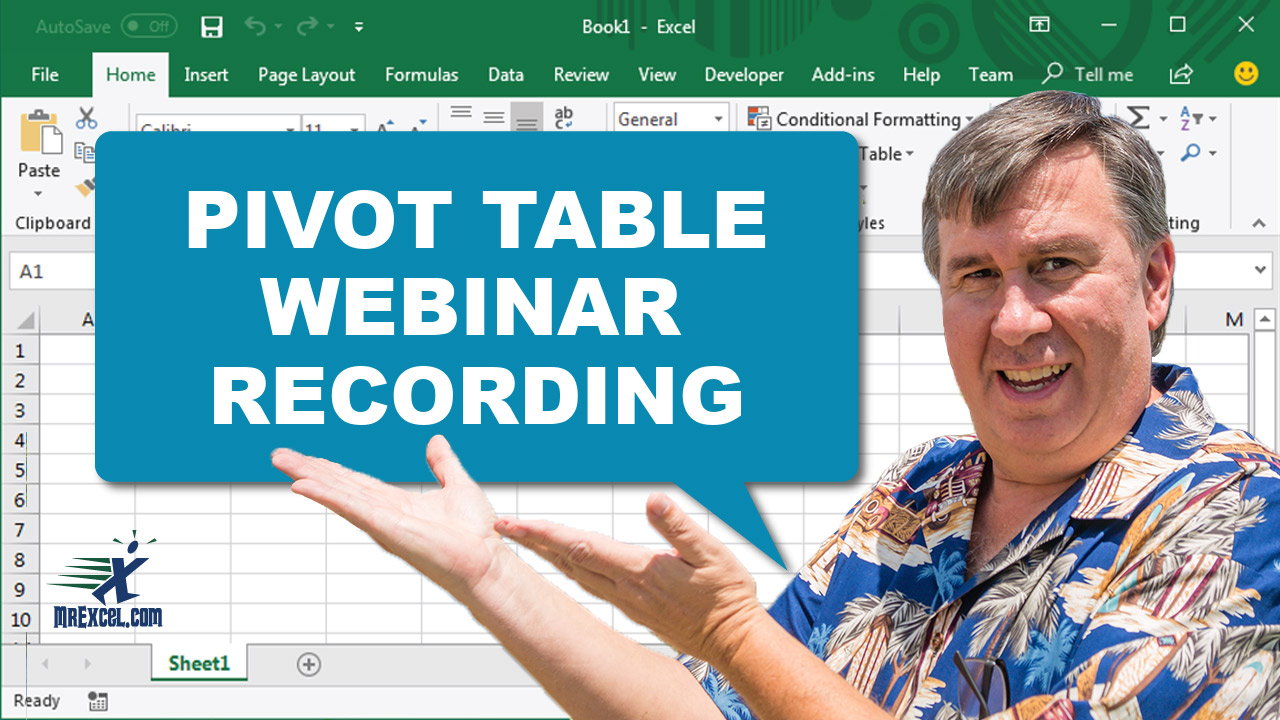 Pivot Table Webinar Recording Now Available