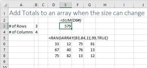 Excel offers a way to refer to the entire array with D6#.