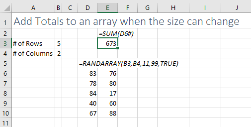 With the size of the array changing, how can you predict where the totals should go?