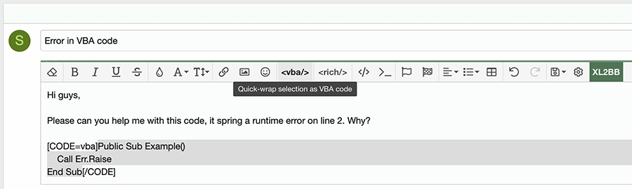 Quick wrap as VBA code