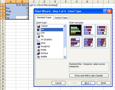 in the chart dialog box choose a bar chart on the left side in the following screen shot you can see the cells that are selected and the various bar