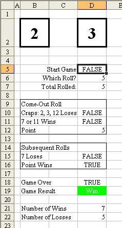 Game of craps excel simulation